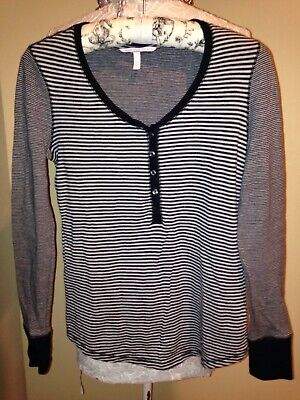 VICTORIAS SECRET~BLACK WHITE  SOFT COTTON JERSEY COMFY TOP Pajama PJ Top~SMALL S