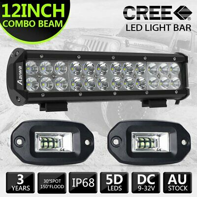 12inch 240W LED Light Bar Work SPOT FLOOD Combo CREE 4WD CAR ATV + 4''inch Flood