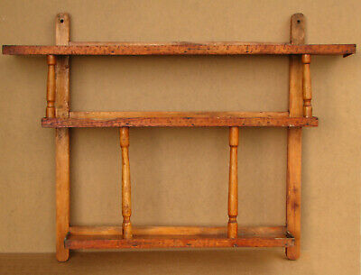Old Antique Primitive Wooden Wood Shelf Rack Cupboard Wall Hanger Rustic 1960's