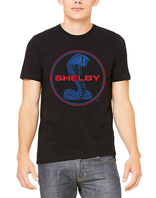 Mens Shelby Cobra Circle Black T Shirt Classic Car Racing Mustang GT350 Fastback