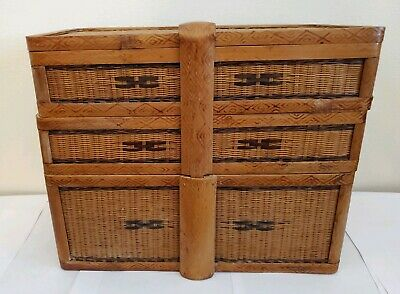 Old Chinese Rattan Wicker 3 Tier Nesting Stacked Wedding Lunch Tea Basket Box