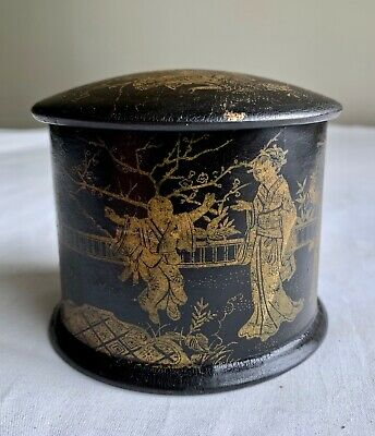 Antique Chinese English Export Paper Mache Box Black Laquer Chinoiserie 03903