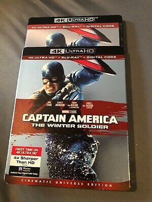 CAPTAIN AMERICA THE WINTER SOLDIER(4K& bluray W/SLIPCOVER only opened for code