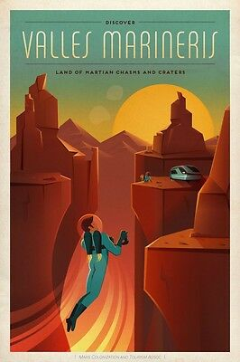 SpaceX Mars Tourism Poster For Valles Marineris Vintage Fine Art Space Print
