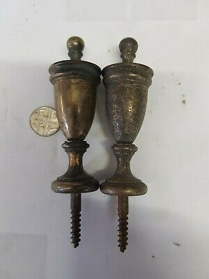 CAST BRASS CURTAIN POLE ENDS C1920s OLD VINTAGE ORNATE  80x28mm  FRENCH