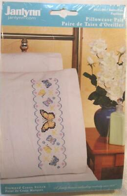 Janlynn Butterflies Pillow Cases Stamped for Embroidery Set of 2 #021-0937