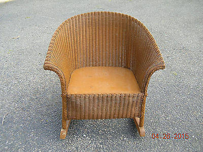 Antique  Childs  Brown  Wicker  Rocking  Chair
