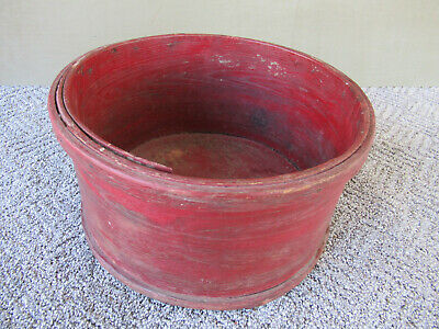 Antique Dry Measure Vtg Primitive Country 12 Quart Round Bucket, Old Red Paint