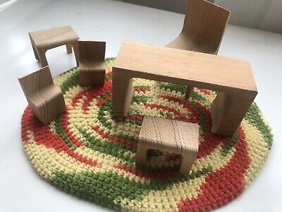 Vintage Wooden Mid-Century Modern Dollhouse Furniture Chairs Table Rug