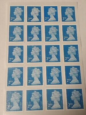 20 blue Unfranked 2st First Class Security Stamps - Peel and Stick - Gummed