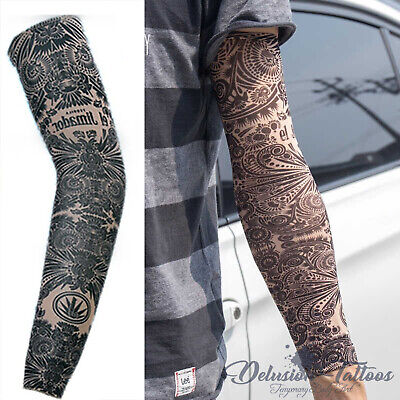 Temporary Tattoo Sleeve Nylon Arm Warmer Aztec Tribal Mens Women's Kids Sport
