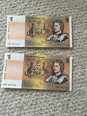 2 X Australian Decimal Paper Banknotes One Dollar UNC Mint Cond In Sequence