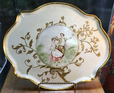 Antique French Gold Trim Large Dresser Tray by Jean Pouyet Signed & Dated 1893