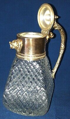 Cut Glass Decanter Pitcher W/Silver Plated Handle And Animal Head Spout Md/Italy