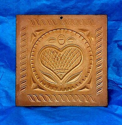 Vintage Crowning Touch Collection carved Heart terracotta tile trivet wall decor