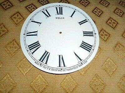 For American Clocks-Welch Paper Clock Dial-126mm M/T-Roman-GLOSS-Parts/Spares