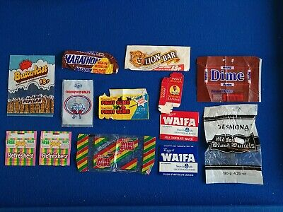 Original Vintage Chocolate Bar & Other Wrappers Marathon Rowntrees Dime etc