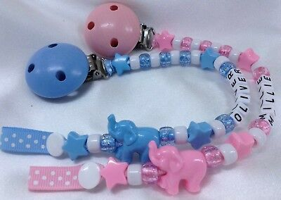 🐘PERSONALISED DUMMY CLIP 🐘 ELEPHANT 🐘 Upto 12 Letters  SPARKLE BLUE or PINK🐘