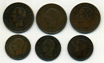 6 X Greece Copper Coins 1869 To 1882