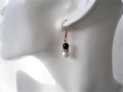 Pearl & Diamante Earrings for Women Girls Brides Bridesmaid Silver Rose Gold 57S