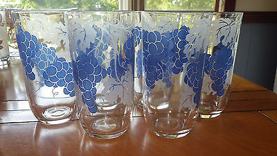 Blue White Tumblers Glasses Grape Bunch Leaves Design 6 9 ounce tumblers