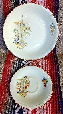 Tia Juana Serving Bowl + Saucer Edwin W Knowles Vintage Sleeping Mexican 1940