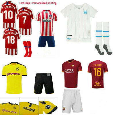 New Football Outfit Training Shirts Jerseys Soccer Suits For Kids Boys 3-14Years