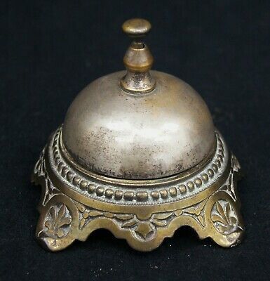 Vintage 1920's Brass Desk Bell Tested School Hotel Counter Working Antique A8633