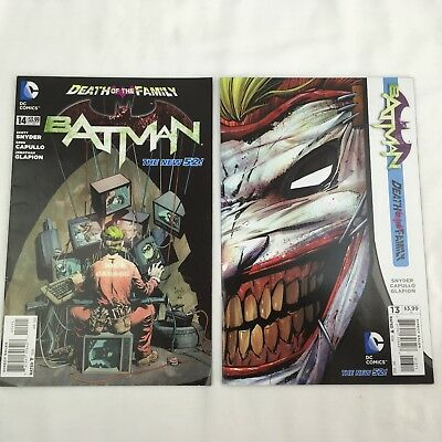 Batman #13 & #14 Lot of 2 Comics Issues Joker Face cover Death of the Family