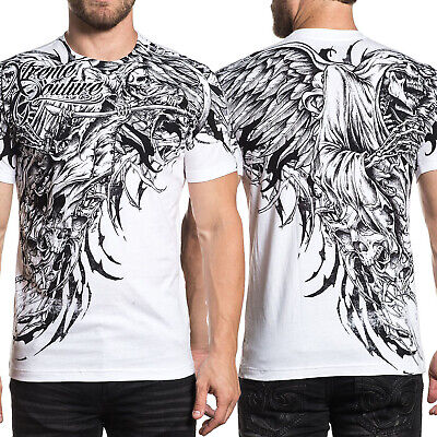Xtreme Couture Affliction Sorrow Grim Reaper Skulls Angel Wing Men T-Shirt White