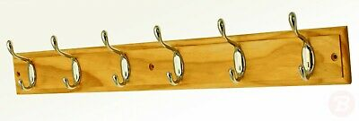 keypak 6-Hook Wall-Mounted Coat Rack, Pine, Chrome