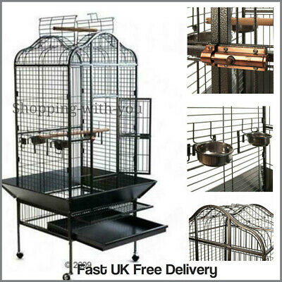 Large Parrot Cage Bird Macaw House Metal Finch Cockatoo Pet Black African Grey