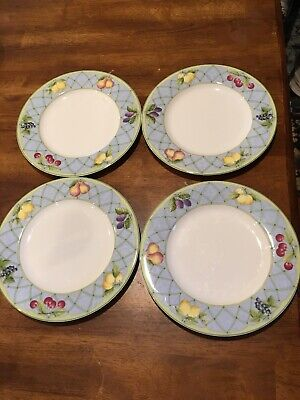 Set of 4 Mikasa Optima Fruit Rapture Fine China Strong Salad Plates VG