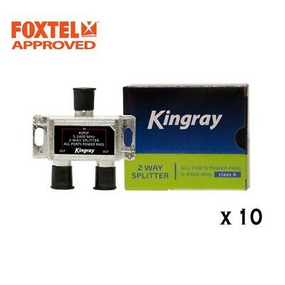 10 x TV Antenna Splitter 2-Way F-Type Aerial 5-2400MHz , Foxtel Approved