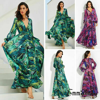NEW Elegant Women Boho Long Evening Party Lady Floral Maxi Beach Cocktail Dress