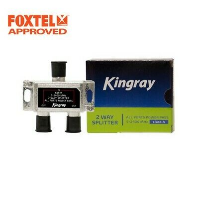 TV Antenna Splitter 2-Way F-Type Aerial 5-2400MHz Power Pass Foxtel Approved