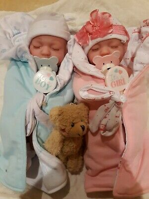 Reborn Twins Super Soft Vinyl Boy And Girl With Pacifiers Anatomical💙💗 Preemie