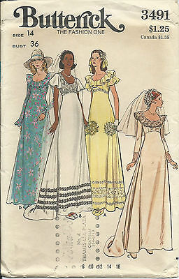 B 3491 sewing pattern 70's A-line Wedding DRESS Bride GOWN sew LUV size 14 UNCUT