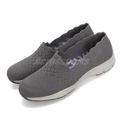 SKECHERS SEAGER STAT GREY White Women Slip On Casual Shoes