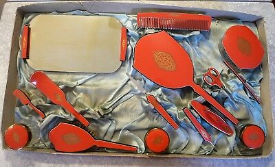 VTG CORAL & BLACK PYRALIN CELLULOID 15pc VANITY DRESSER SET + box DuPont SALMON