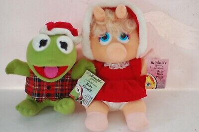Vintage Jim Henson lot BABY KERMIT & MISS PIGGY ~ McDonald's 1988 WITH TAGS!