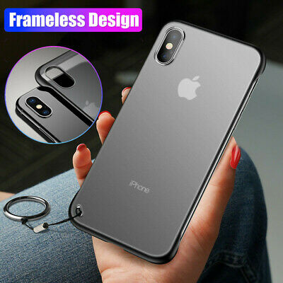 Frameless Matte Clear Finger Ring Hard Case Cover For iPhone XS Max XR X 8 6S 7+