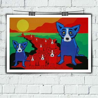 Blue Dog Cartoon Art Prints Home Decor Wall Art Print on Canvas 24x36 Unframed