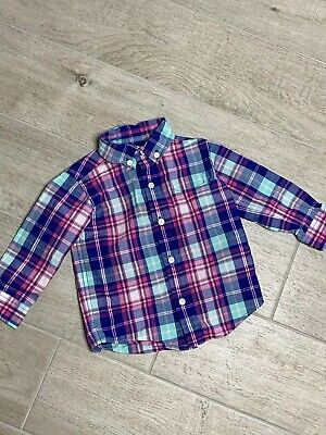 Janie And Jack Baby Boys Button Down Shirt Plaid Size 12-18 Months