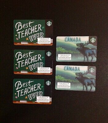 2019 Starbucks Canada Teacher & Moose  Gift Card ------- Lot Of 5 Pcs. --- New