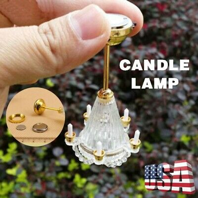 1/12 Dollhouse Miniature LED 5 Candles Chandelier Light Lamp w/ Battery Operated