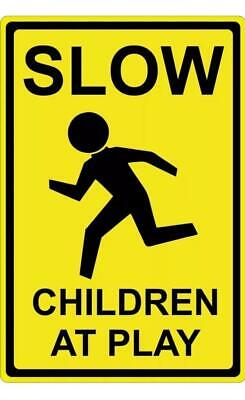 Metal Plate Sign Slow Down Kids Play Street Bar Warn Home Wall Store Decor Cave