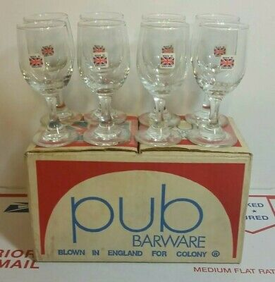 Pub Barware Cordial SET OF 8 Glasses Blown in England for Colony Made in England