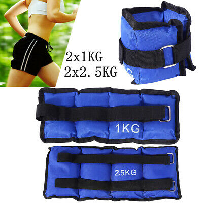 Pro 2x ADJUSTABLE ANKLE WEIGHTS GYM EQUIPMENT WRIST FITNESS YOGA 1/2/3/4/5/6kg