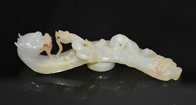 "Rare Chinese Han Dy Old Jade Carved Dragon On Dragon Head ""Gou"" L 12.8 CM"